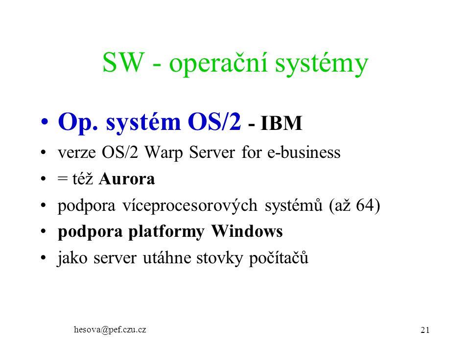 SW - operační systémy Op. systém OS/2 - IBM