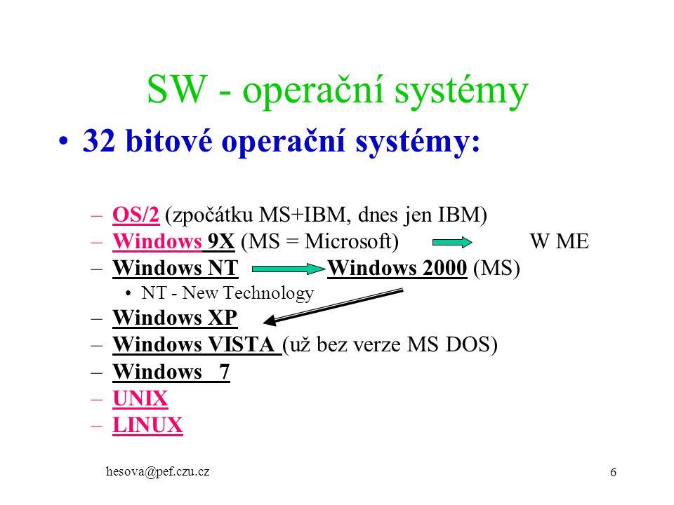 SW - operační systémy 32 bitové operační systémy: