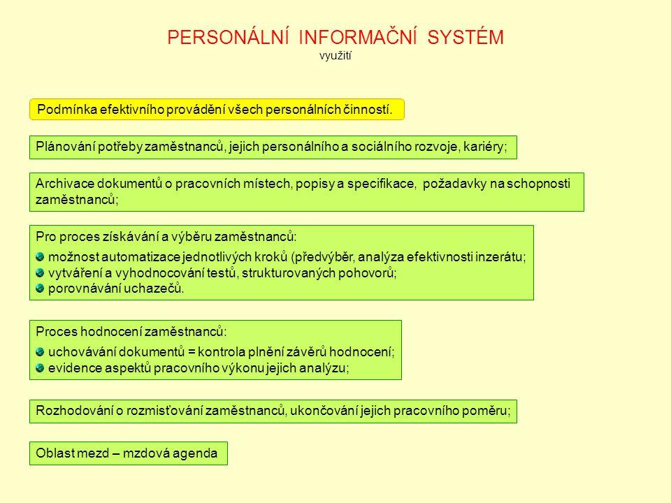 PERSONÁLNÍ INFORMAČNÍ SYSTÉM využití
