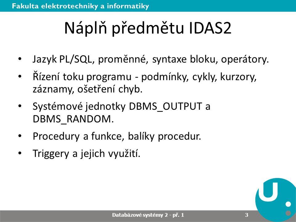 Databázové systémy 2 - př. 1