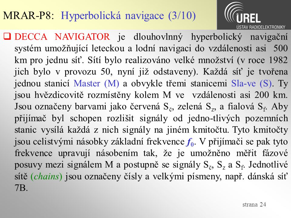MRAR-P8: Hyperbolická navigace (3/10)