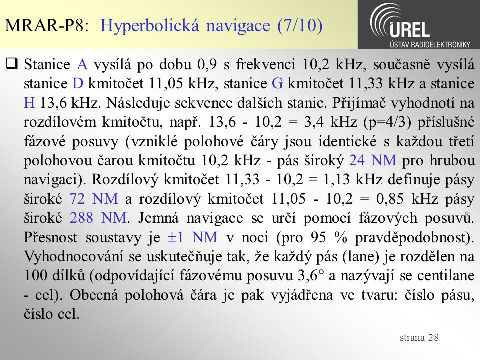 MRAR-P8: Hyperbolická navigace (7/10)
