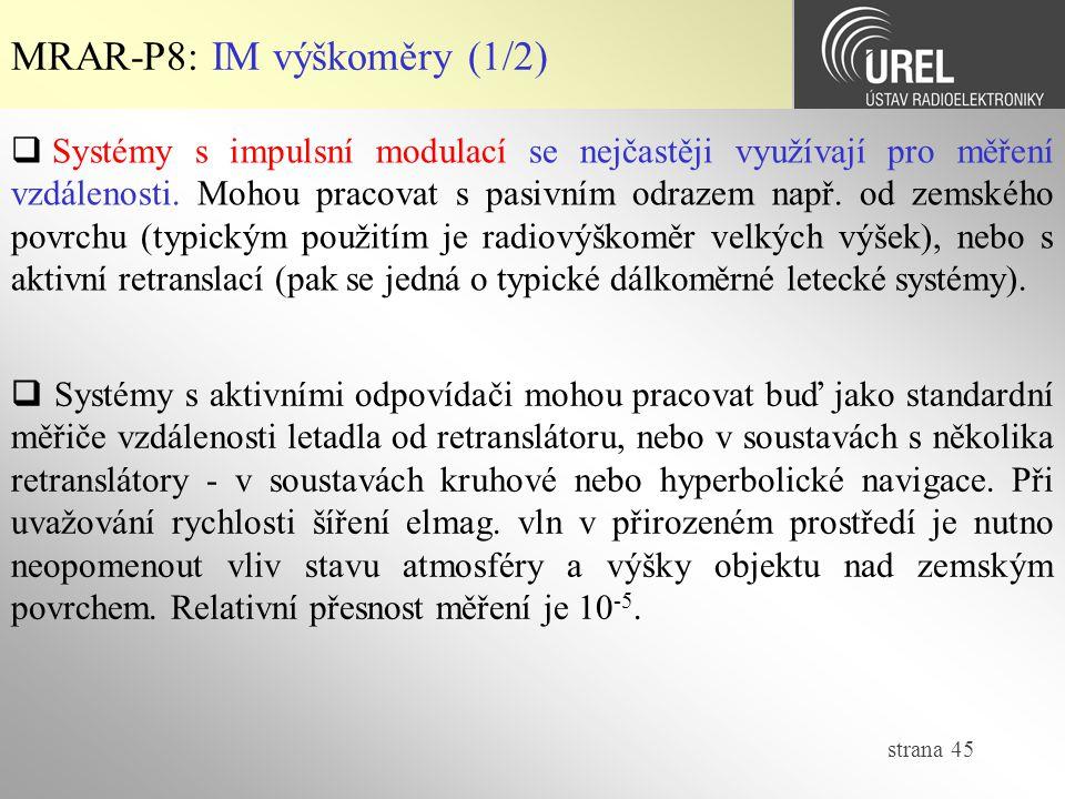 MRAR-P8: IM výškoměry (1/2)