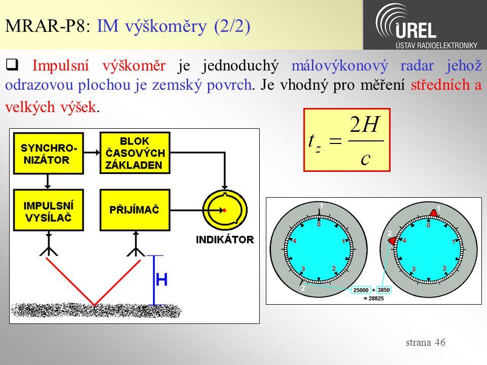 MRAR-P8: IM výškoměry (2/2)