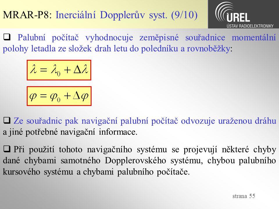 MRAR-P8: Inerciální Dopplerův syst. (9/10)