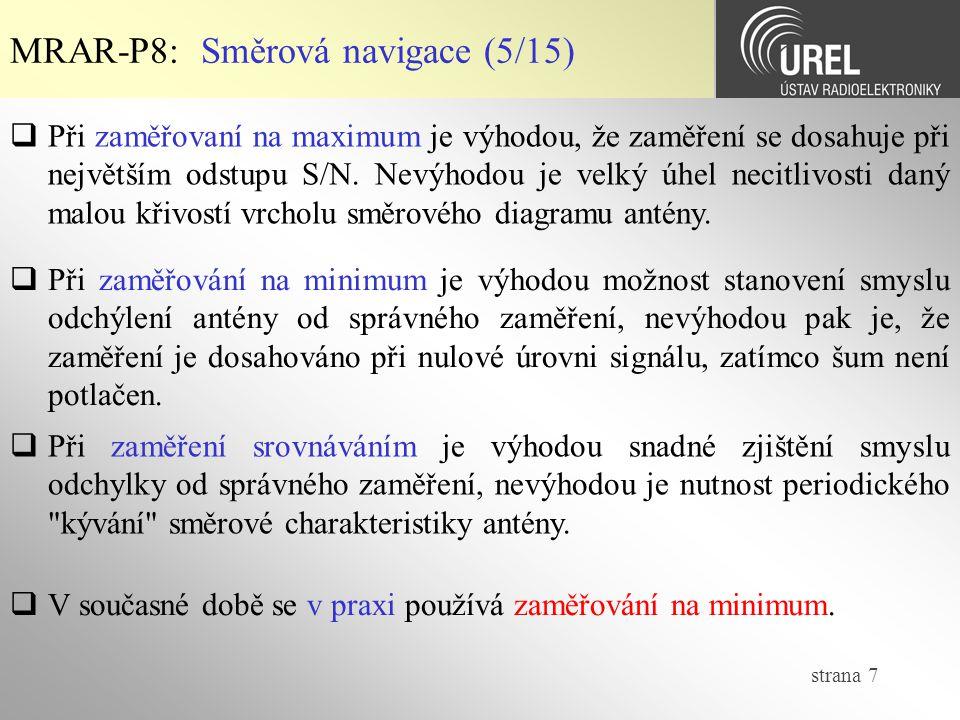 MRAR-P8: Směrová navigace (5/15)