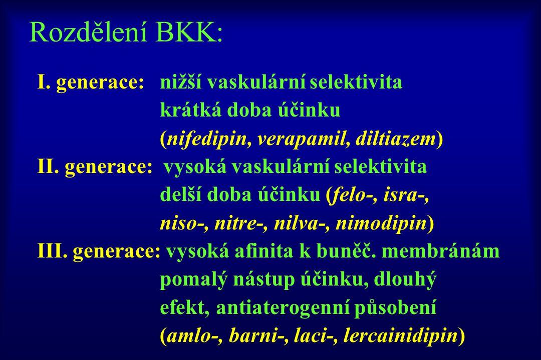 Rozdělení BKK: I. generace: nižší vaskulární selektivita