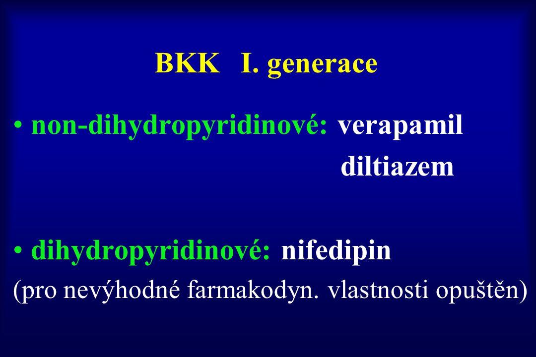 non-dihydropyridinové: verapamil diltiazem