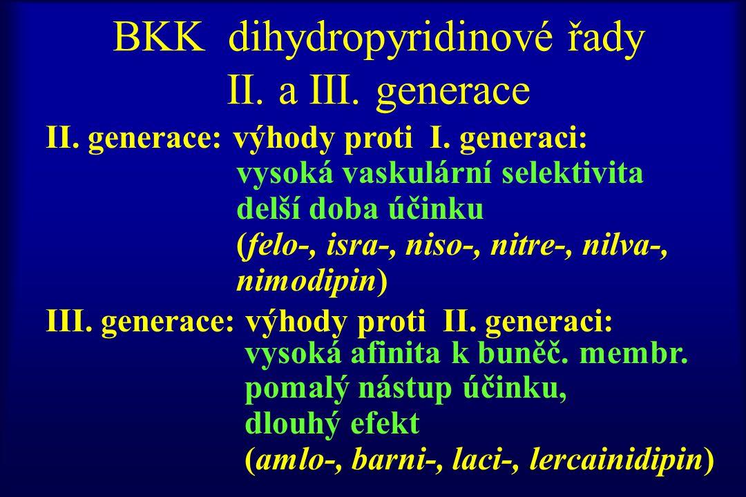 BKK dihydropyridinové řady II. a III. generace