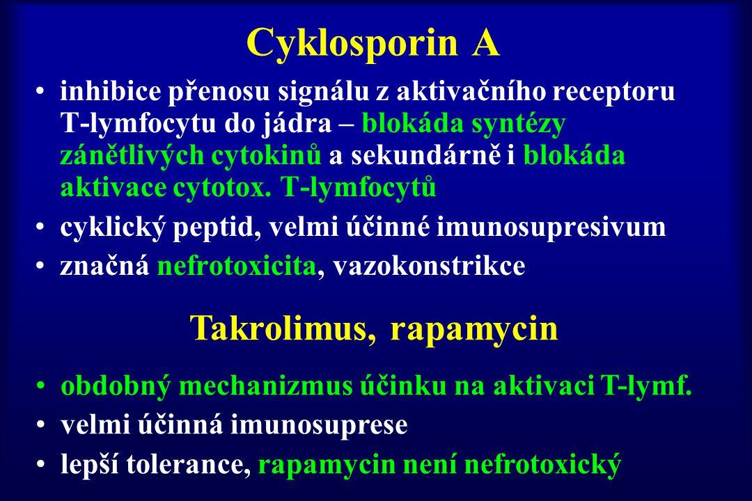 Cyklosporin A Takrolimus, rapamycin