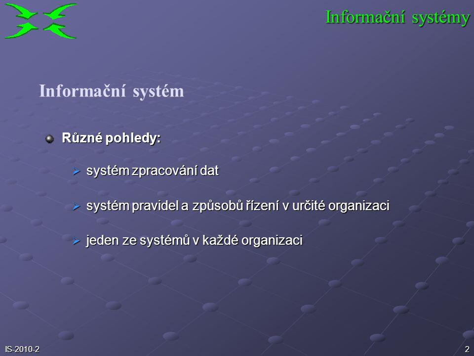 Informační systémy Informační systém Různé pohledy: