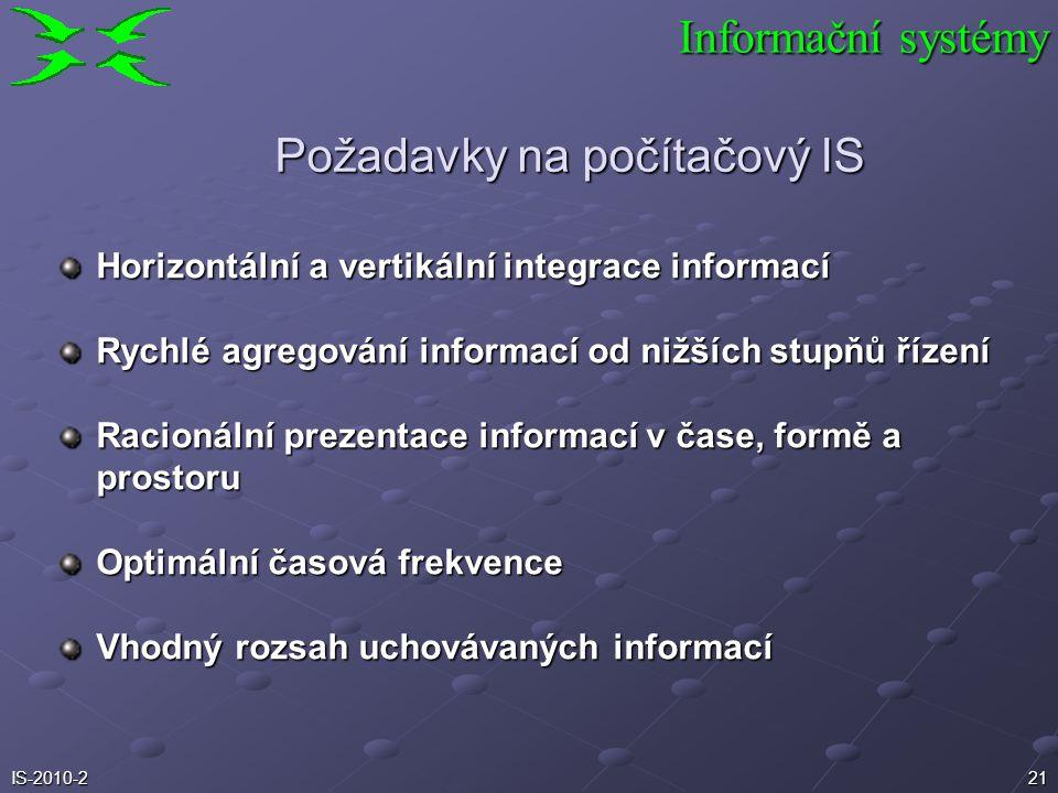 Požadavky na počítačový IS