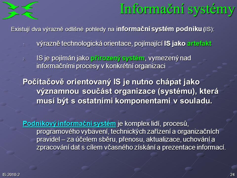 Informační systémy Existují dva výrazně odlišné pohledy na informační systém podniku (IS):