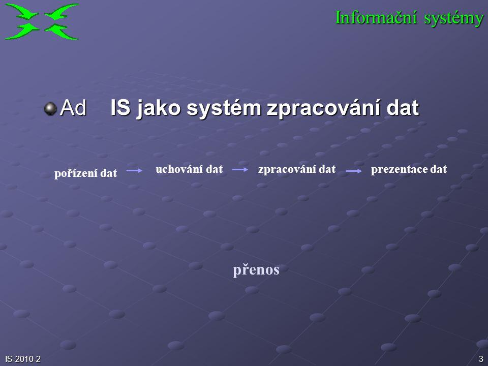 Ad IS jako systém zpracování dat