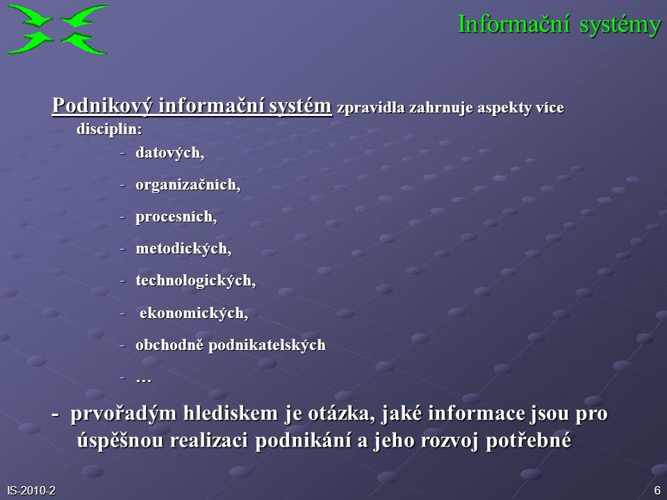 Informační systémy Podnikový informační systém zpravidla zahrnuje aspekty více disciplín: datových,