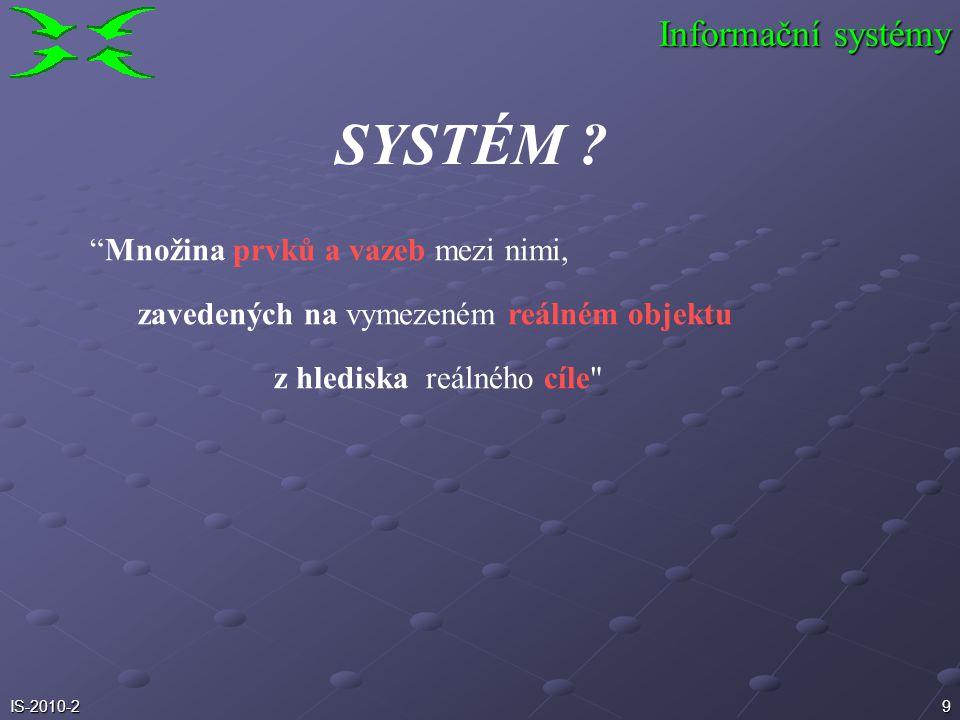 SYSTÉM Informační systémy Množina prvků a vazeb mezi nimi,