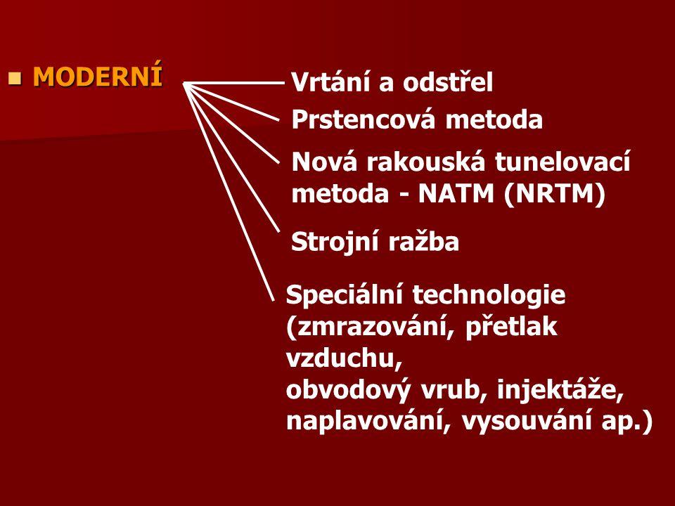 MODERNÍ Vrtání a odstřel. Prstencová metoda. Nová rakouská tunelovací metoda - NATM (NRTM) Strojní ražba.