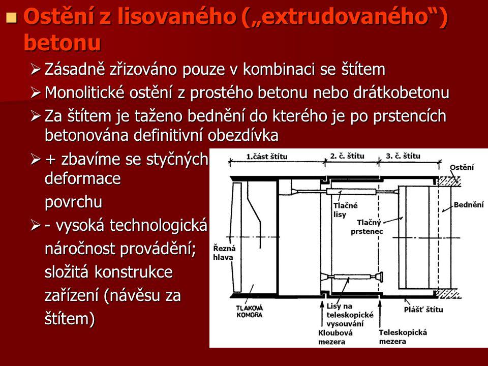 """Ostění z lisovaného (""""extrudovaného ) betonu"""