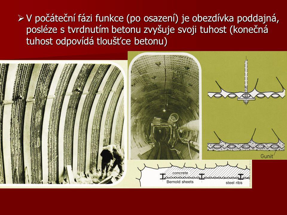 V počáteční fázi funkce (po osazení) je obezdívka poddajná, posléze s tvrdnutím betonu zvyšuje svoji tuhost (konečná tuhost odpovídá tloušťce betonu)