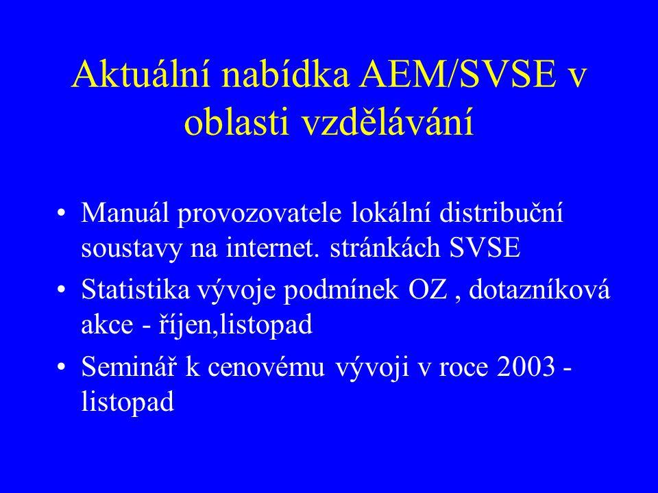 Aktuální nabídka AEM/SVSE v oblasti vzdělávání