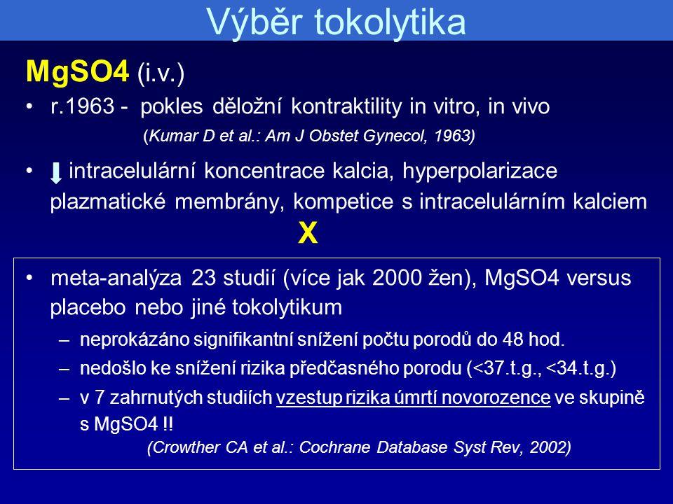 Výběr tokolytika MgSO4 (i.v.)
