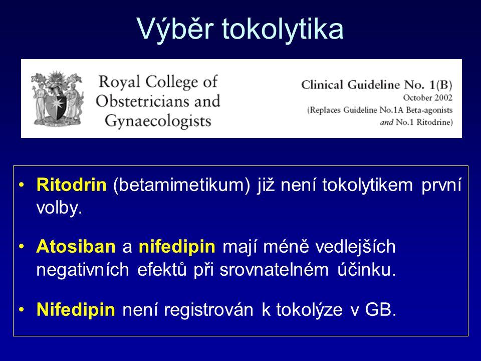 Výběr tokolytika Ritodrin (betamimetikum) již není tokolytikem první volby.