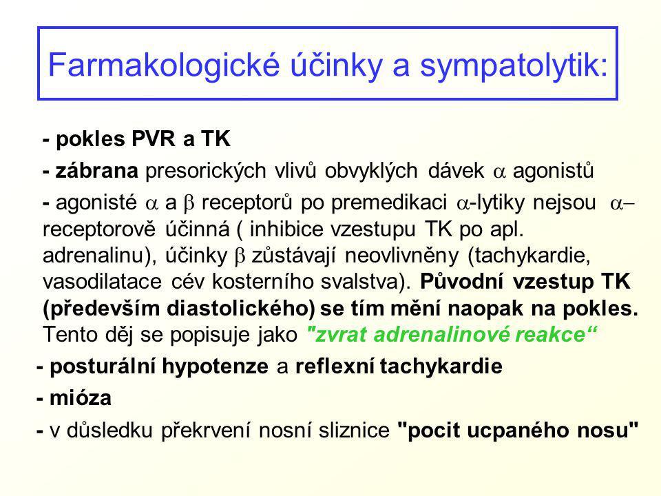 Farmakologické účinky a sympatolytik: