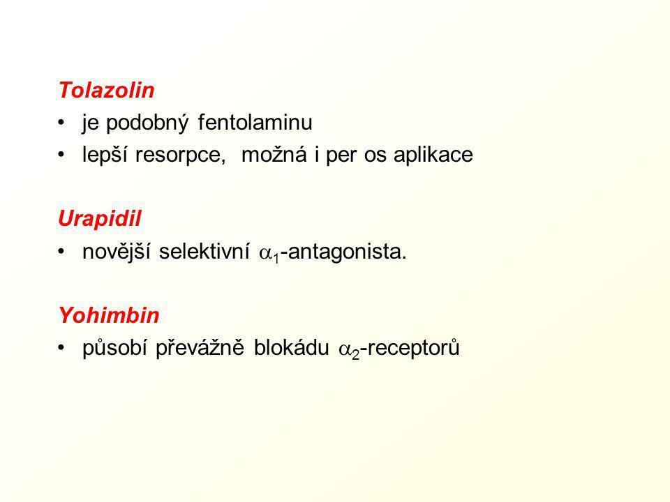 Tolazolin je podobný fentolaminu. lepší resorpce, možná i per os aplikace. Urapidil. novější selektivní a1-antagonista.