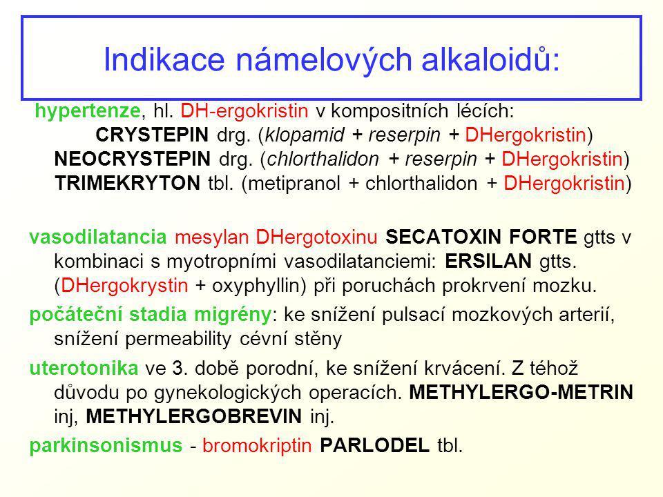 Indikace námelových alkaloidů: