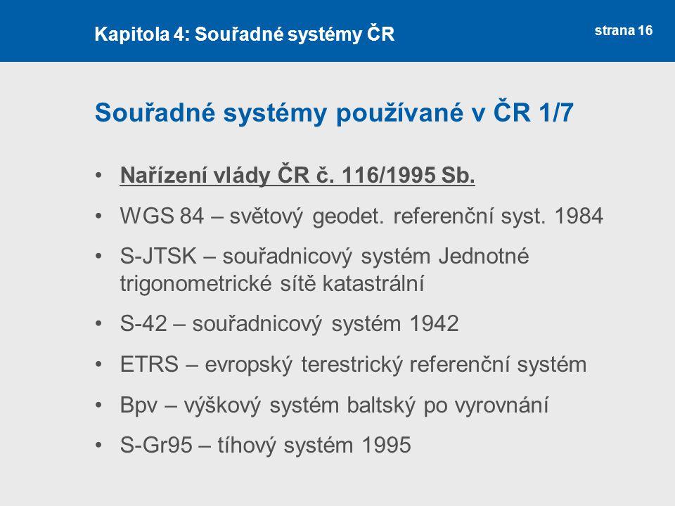Souřadné systémy používané v ČR 1/7