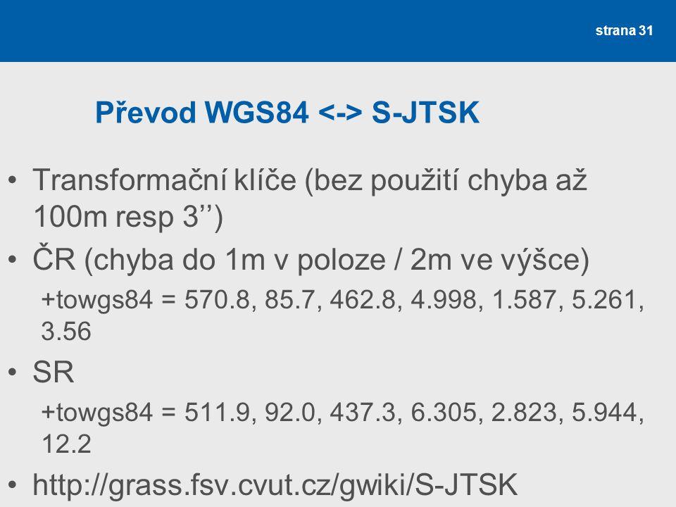 Převod WGS84 <-> S-JTSK
