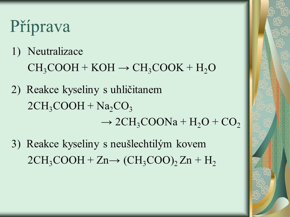 Příprava Neutralizace CH3COOH + KOH → CH3COOK + H2O