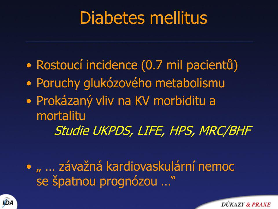 Diabetes mellitus Rostoucí incidence (0.7 mil pacientů)