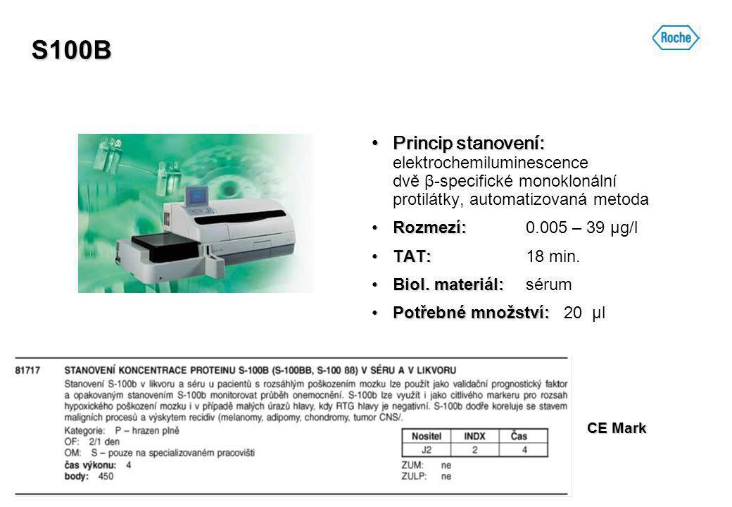 S100B Princip stanovení: elektrochemiluminescence dvě β-specifické monoklonální protilátky, automatizovaná metoda.