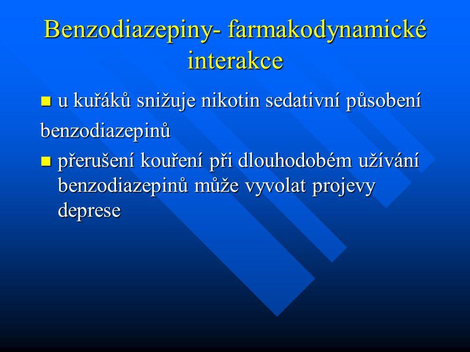Benzodiazepiny- farmakodynamické interakce