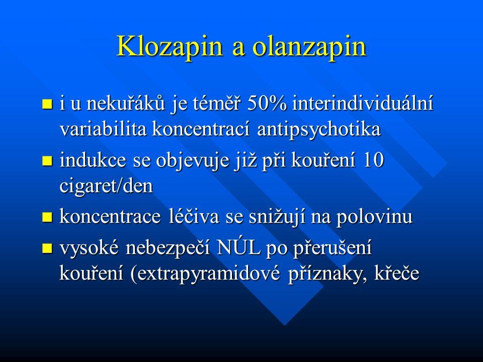 Klozapin a olanzapin i u nekuřáků je téměř 50% interindividuální variabilita koncentrací antipsychotika.