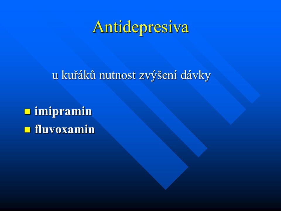 Antidepresiva u kuřáků nutnost zvýšení dávky imipramin fluvoxamin