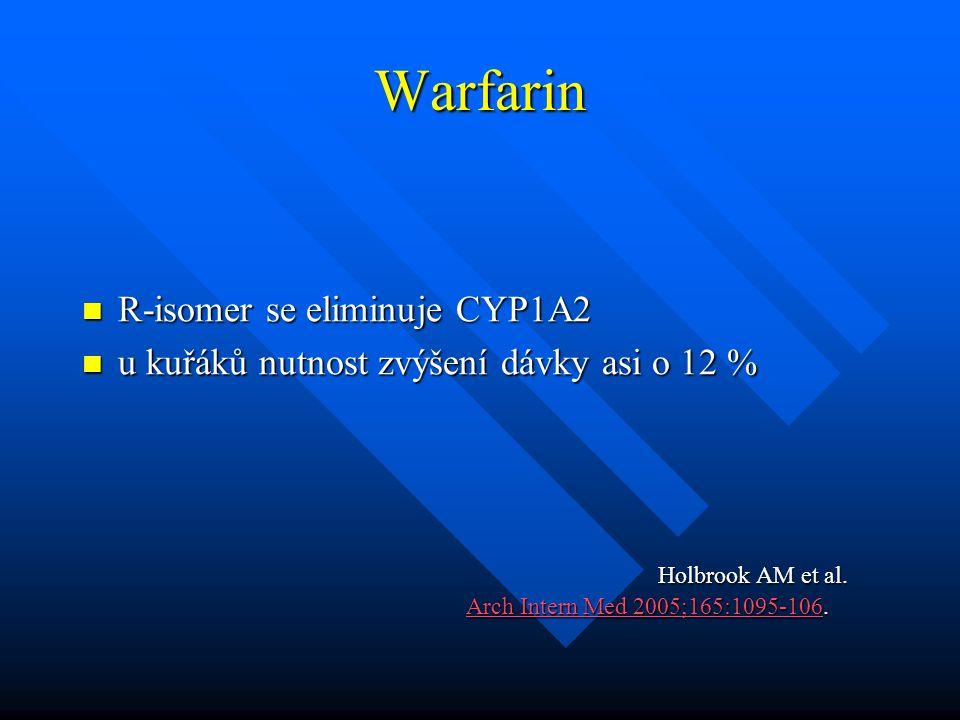 Warfarin R-isomer se eliminuje CYP1A2