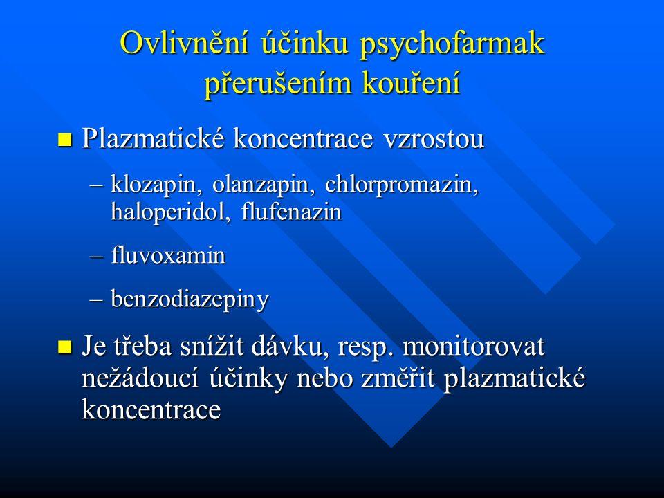 Ovlivnění účinku psychofarmak přerušením kouření