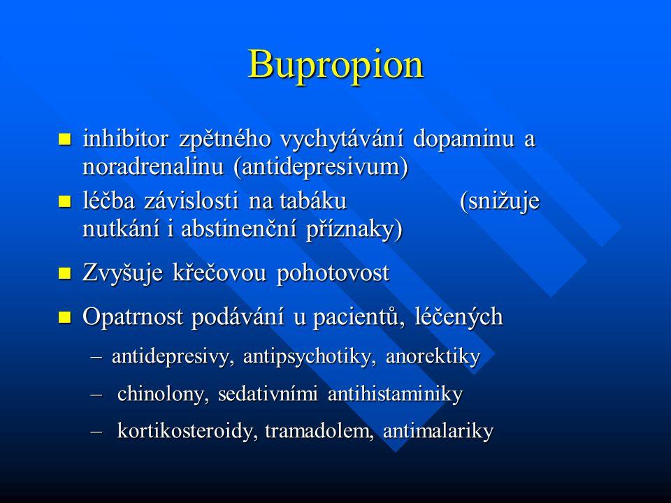 Bupropion inhibitor zpětného vychytávání dopaminu a noradrenalinu (antidepresivum)