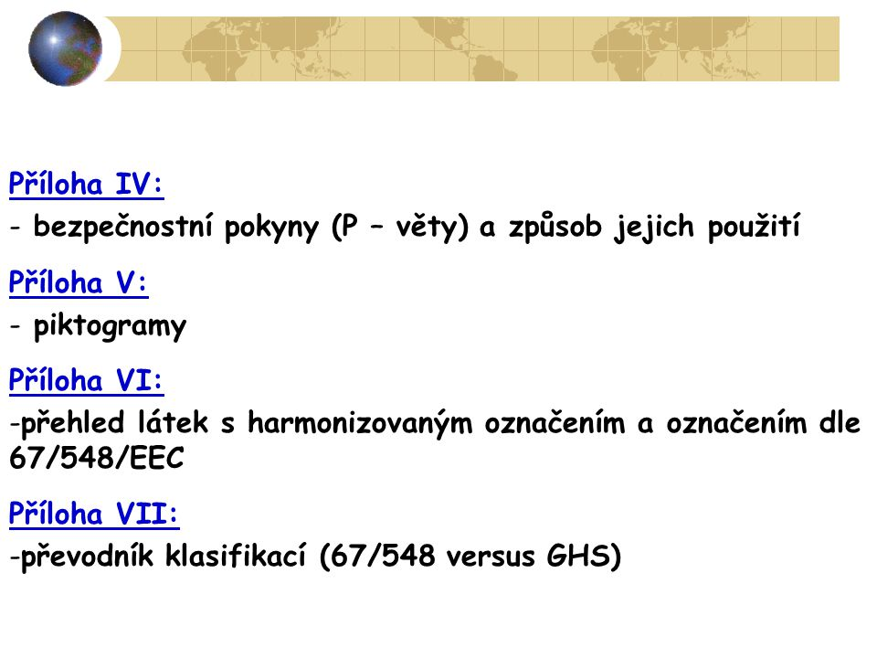Příloha IV: bezpečnostní pokyny (P – věty) a způsob jejich použití. Příloha V: piktogramy. Příloha VI: