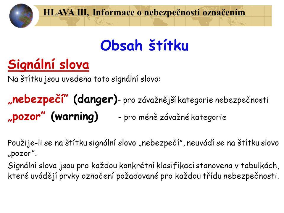 Obsah štítku Signální slova