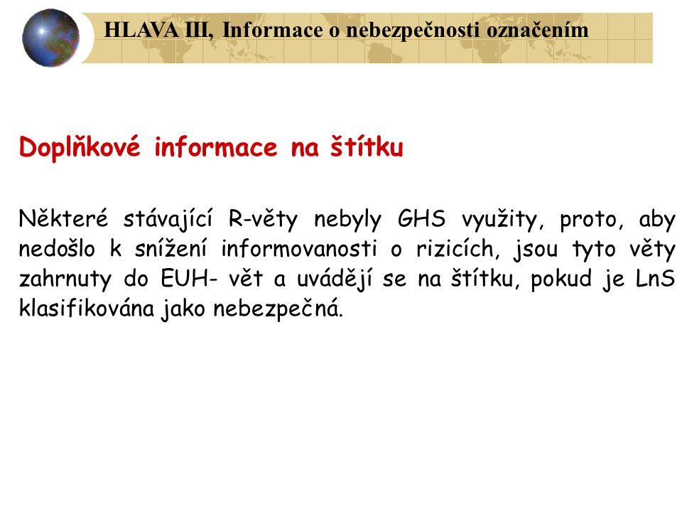 Doplňkové informace na štítku