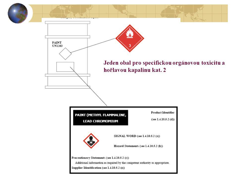 Jeden obal pro specifickou orgánovou toxicitu a hořlavou kapalinu kat