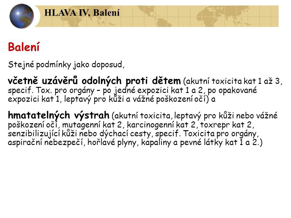 HLAVA IV, Balení Balení. Stejné podmínky jako doposud,