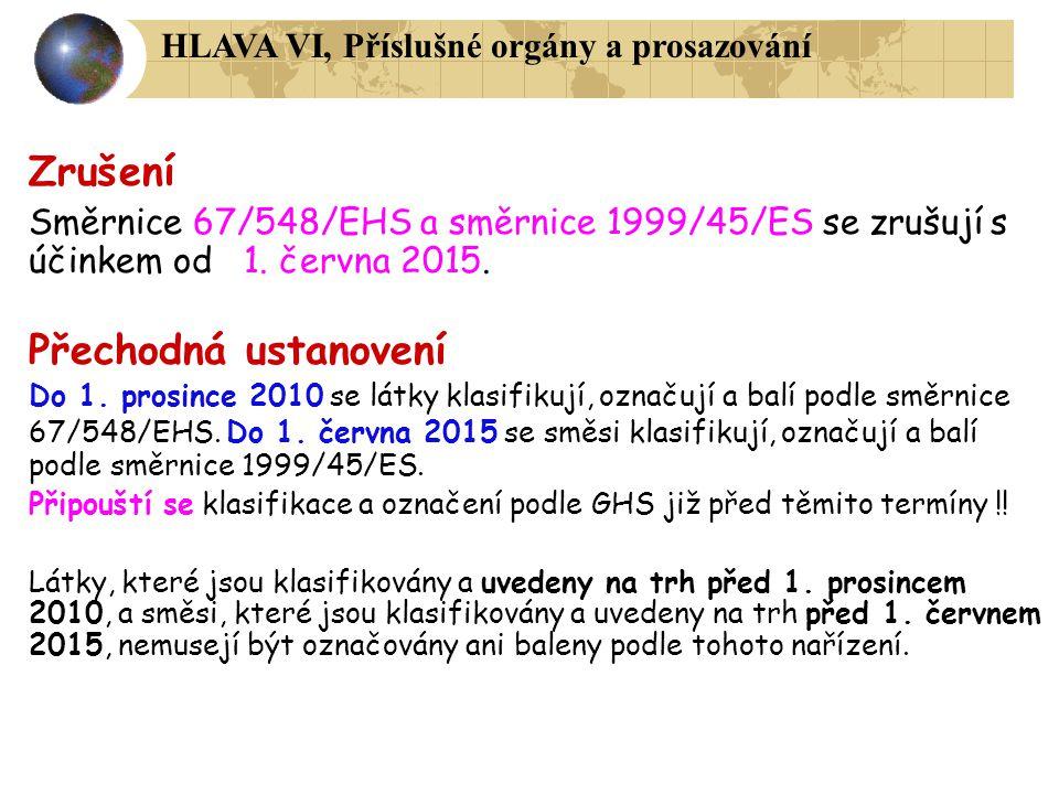 Zrušení Přechodná ustanovení HLAVA VI, Příslušné orgány a prosazování