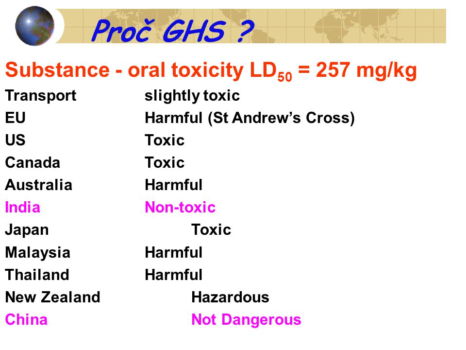 Proč GHS Substance - oral toxicity LD50 = 257 mg/kg