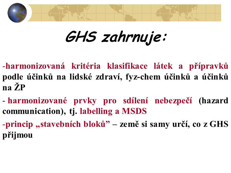 GHS zahrnuje: harmonizovaná kritéria klasifikace látek a přípravků podle účinků na lidské zdraví, fyz-chem účinků a účinků na ŽP.