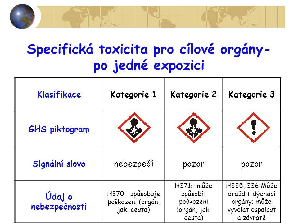 Specifická toxicita pro cílové orgány-
