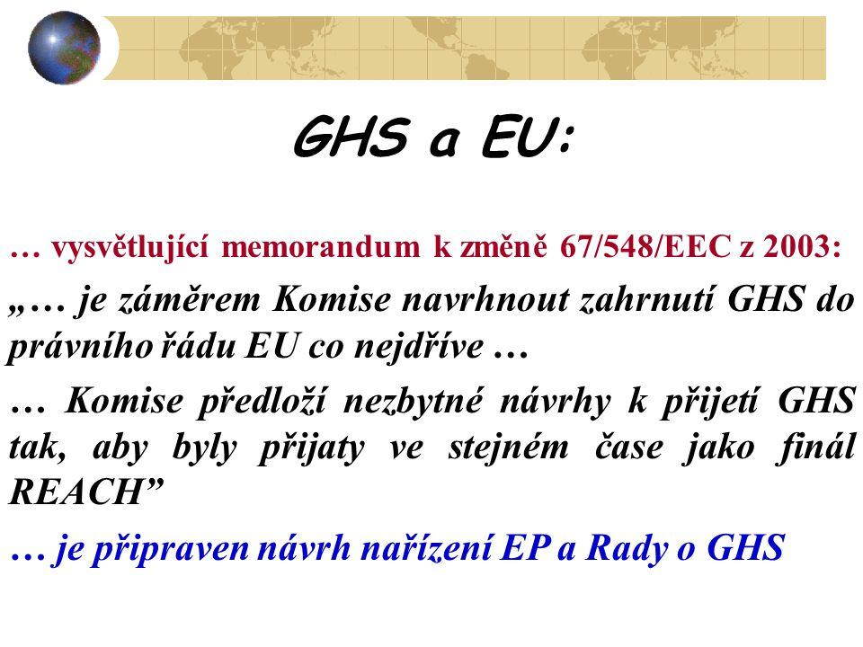 """GHS a EU: … vysvětlující memorandum k změně 67/548/EEC z 2003: """"… je záměrem Komise navrhnout zahrnutí GHS do právního řádu EU co nejdříve …"""